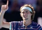 """Pacietīgais Zverevs aptur Vavrinku, pirmoreiz sasniedzot """"Grand Slam"""" pusfinālu"""