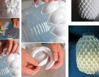 Kā no plastmasas karotītēm un ūdens pudeles izveidot skaistu lampu