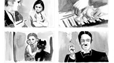 """Komiksu izstāde """"Pie bagātās kundzes"""" pēc filmas scenārija motīviem Andreja Upīša memoriālajā muzejā"""