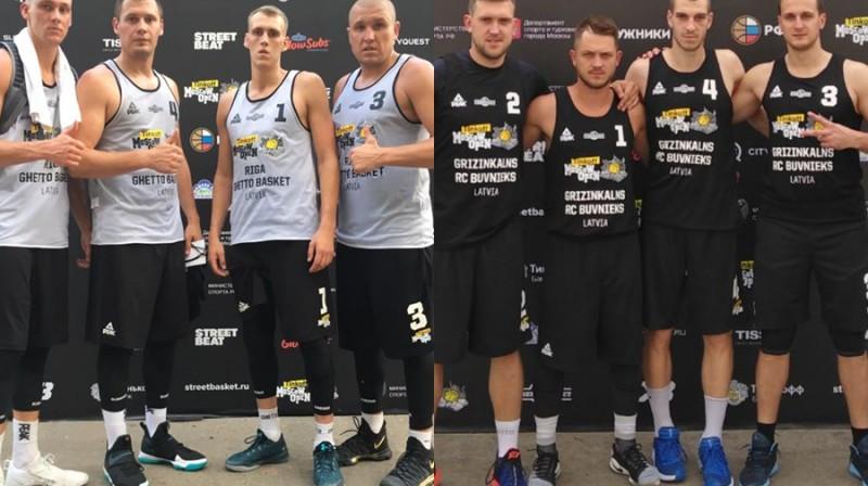 """""""Rīga Ghetto Basket"""" un """"Grīziņkalns RC Būvnieks"""" Maskavā Publicitātes foto kolāža"""