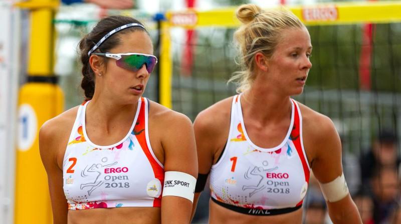 Anastasija Kravčenoka un Alise Lece. Foto: Vadims Morozovs, Latvijas Volejbola federācija