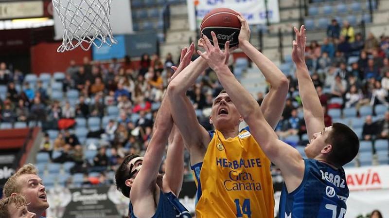 """Anžejs Pasečņiks un """"Gran Canaria"""": otrā uzvara Eirolīgā. Foto: Gran Canaria"""
