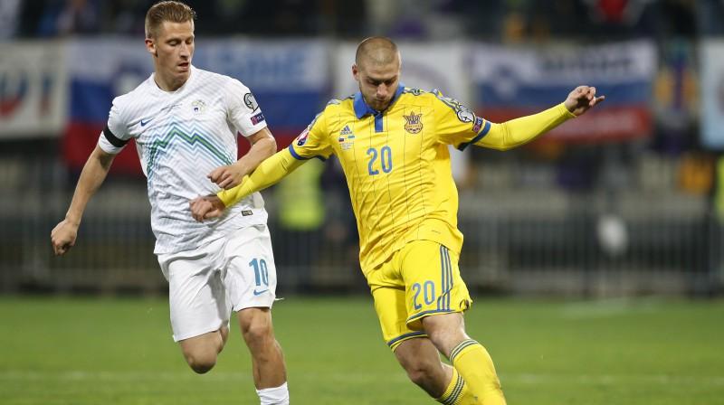 Jaroslavs Rakickis Ukrainas izlases kreklā. Foto: Reuters/Scanpix