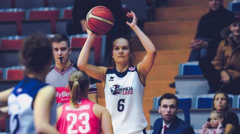 Ketija Vihmane: 19 punkti uzvarā pār Daugavpils Universitāti. Foto: Liepājas basketbols