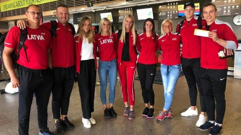 Latvijas komanda pirms došanās uz Portugāli. Foto: Latvijas Vieglatlētikas savienība