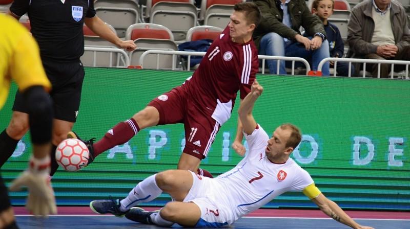 Jurijs Halimons mačā pret čehiem / Foto: Futsal Česka