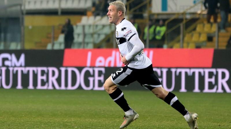 """Parma"" futbolists Simone Jakoponi. Foto: Serena Campanini/EPA/Scanpix"