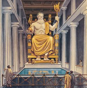 Zeva statuja Olimpijā - viens no 7 pasaules brīnumiem