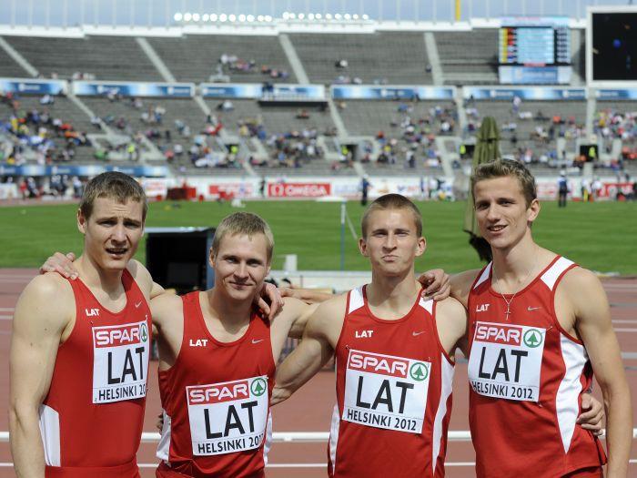 Latvijas 4x100 metru stafetes komandai 12. vieta Eiropā