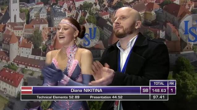 Daiļslidotāja Ņikitina izcīna 10. vietu pasaules junioru čempionātā