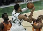 """""""Suns"""" līderim Polam vāja spēle, """"Bucks"""" uzvar un izlīdzina rezultātu sērijā"""