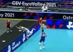 Video: Latvijas volejbolisti piedalās EČ astotdaļfinālu labākajā epizodē
