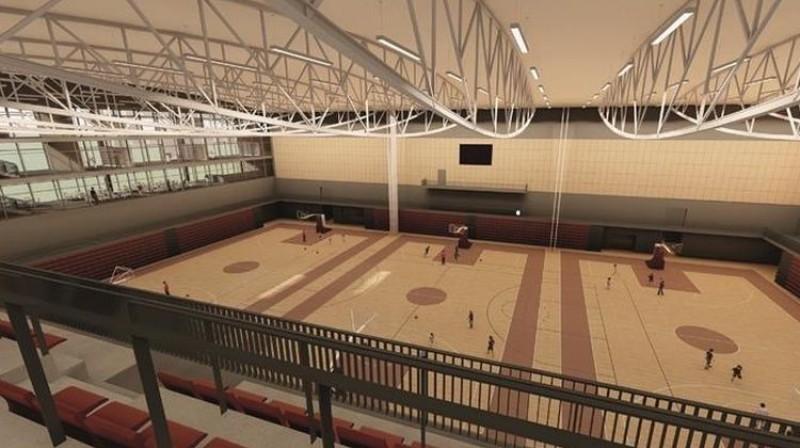 Interjera vizualizācija Komandu sporta spēļu hallei.