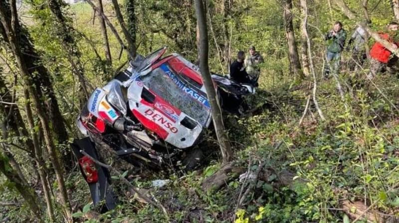 Kalles Rovanperas automašīna pēc avārijas
