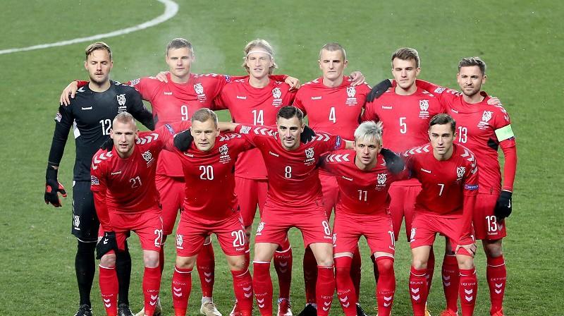Lietuvas vīriešu futbola valstsvienība 2020. gada 18. novembrī Almati. Foto: Reuters/Scanpix