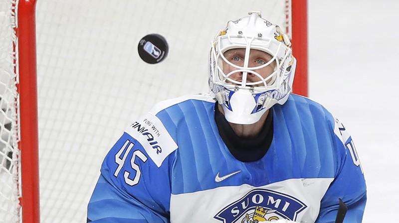 Somijas vārtsargs Jussi Olkinuora. Foto: AP/Scanpix