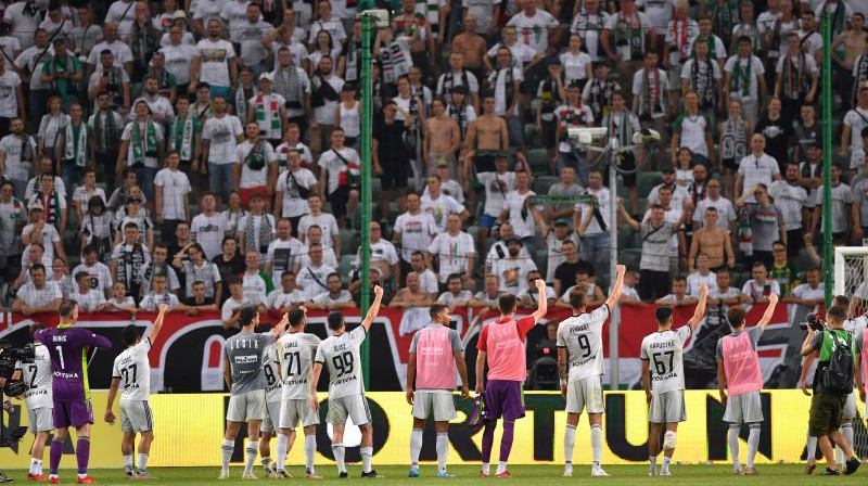 """Varšavas """"Legia"""" atzīmē uzvaru. Foto: EPA/Scanpix"""