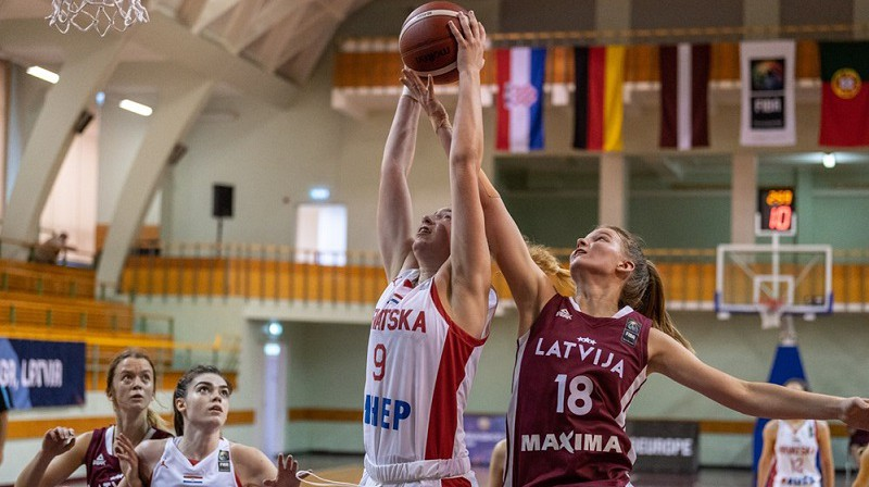 """Nikola Priede, Marta Leimane un Latvijas U18 izlase: pirmā uzvara """"Challenger"""" turnīrā Rīgā. Foto: FIBA"""